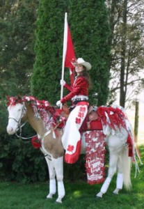For the Love of Endurance Riding Ashley and Splash in full costume with Canadian flag